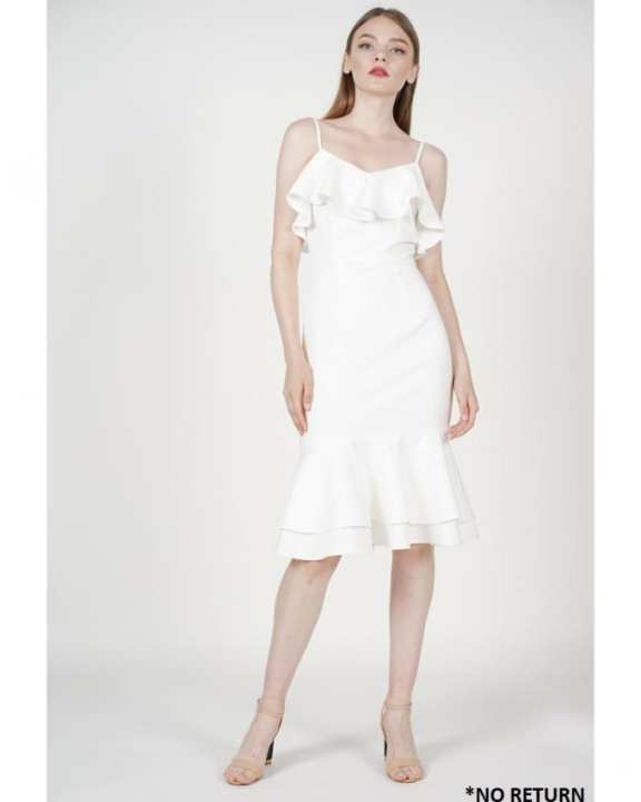 MDS Auriel Ruffled Dress in White