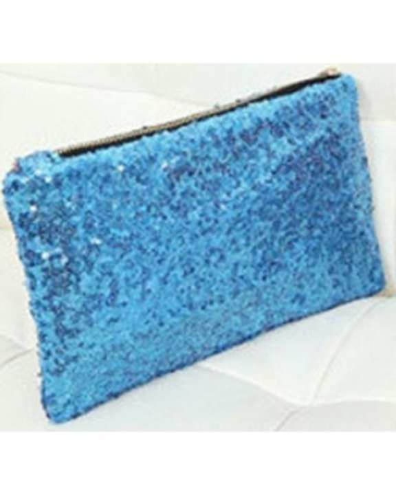 Cocotrend Women's Clutch Bag With Spangles - Light Blue