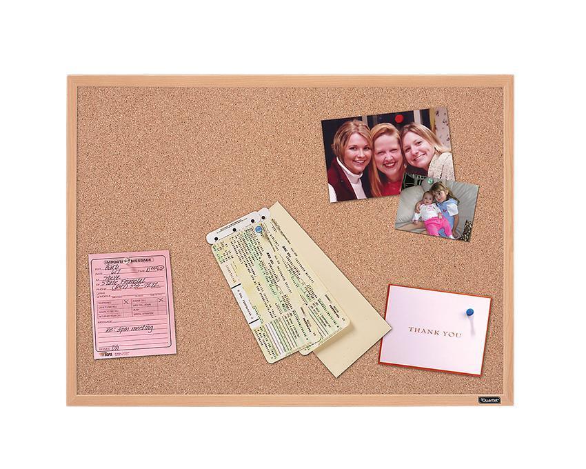 "Quartet Oak Cork Bulletin Board (35"" x 23"")"