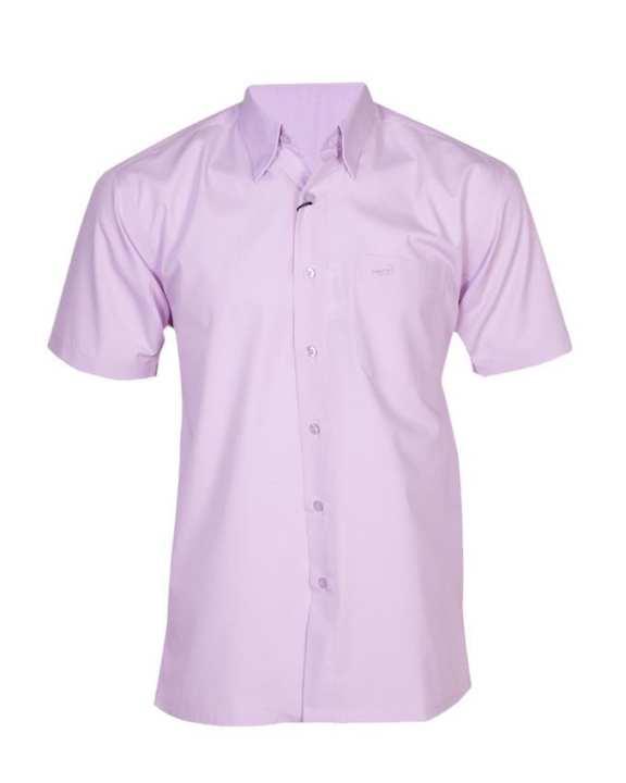 Crocodile Short Sleeve Plain Shirt - Dark Purple