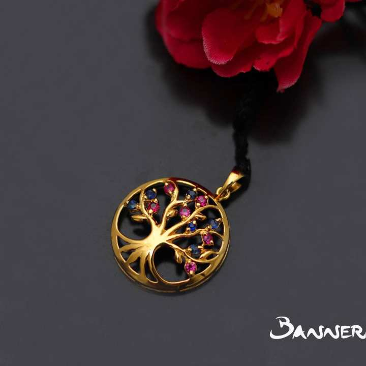 Ruby and Sapphire Tree Of Life Pendant