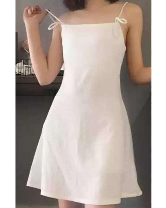Cocotrend Women's Spaghetti Strap Shoulder Dress - White