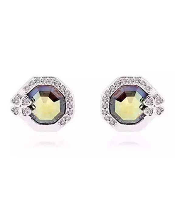 Swarovski Crystal stud earrings - Iridescent Green (001 IRIG)