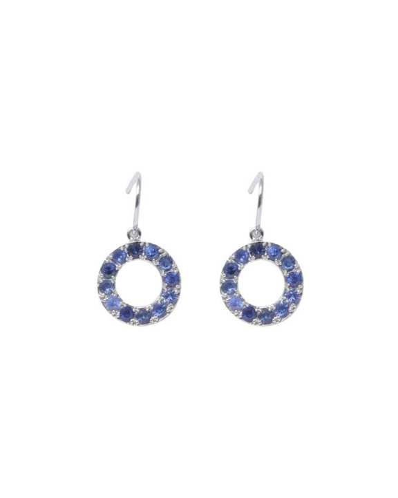 Mia.Ruby Blue Sapphire Halo Earring - 9K White Gold