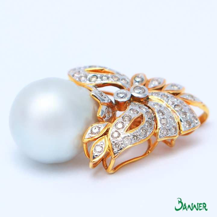 Butterfly Shaped Pearl and Diamond Pendant