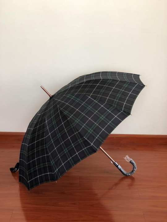 "Princess 12K 27"" Grid Desigin Charles Umbrella- Green Grid"