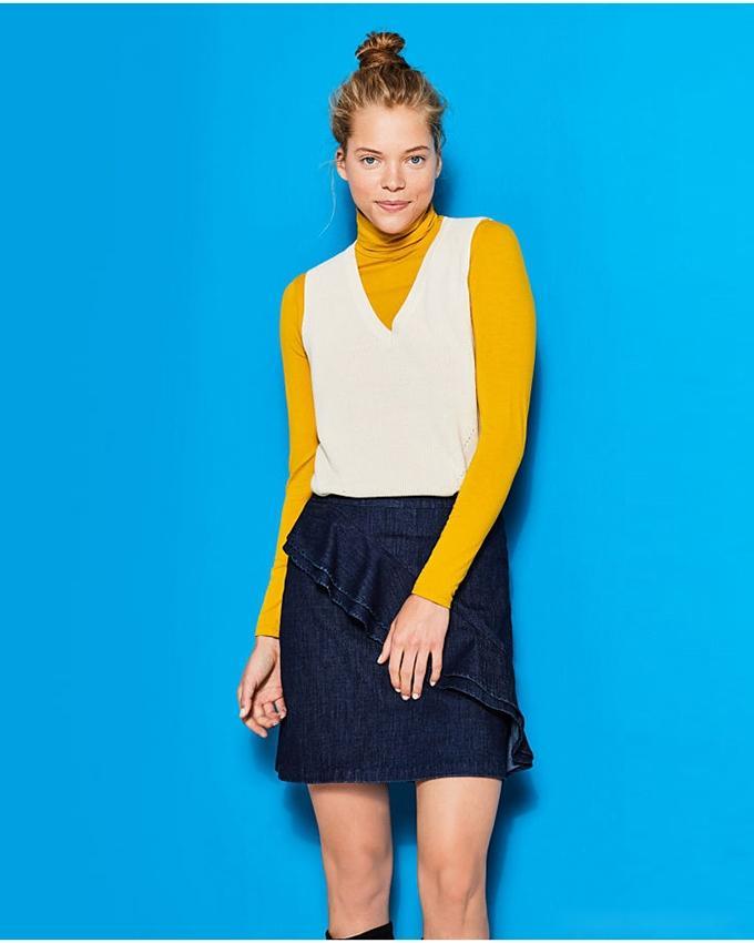 Esprit Women's Cotton blend tank top with V-neckline - Off White