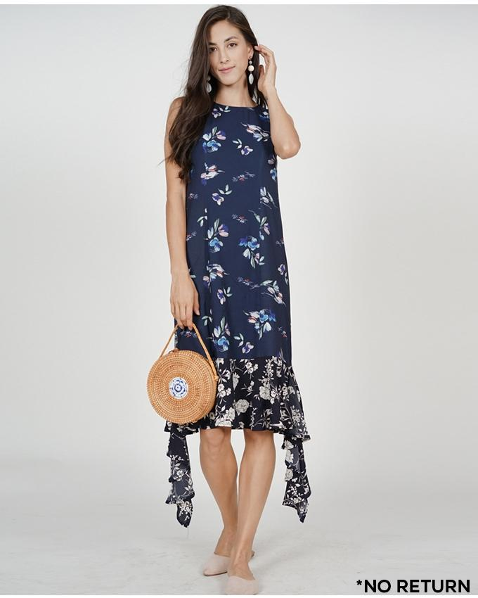 0634bd0a13 MDS Kaia Ruffled-Hem Dress in Navy Floral