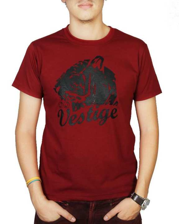 Min Khant x Vestige Short Sleeve Vestige Letters and Tiger Printed T-shirt – Red