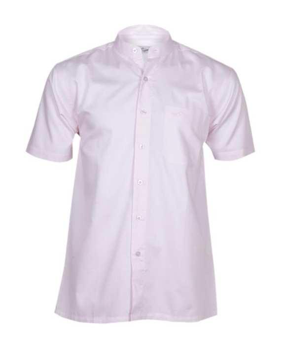 Crocodile Mandarin Collar Short Sleeve Cotton Shirt - Pale Pink