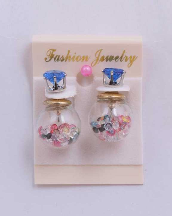 Crystal Earrings - Blue Mix