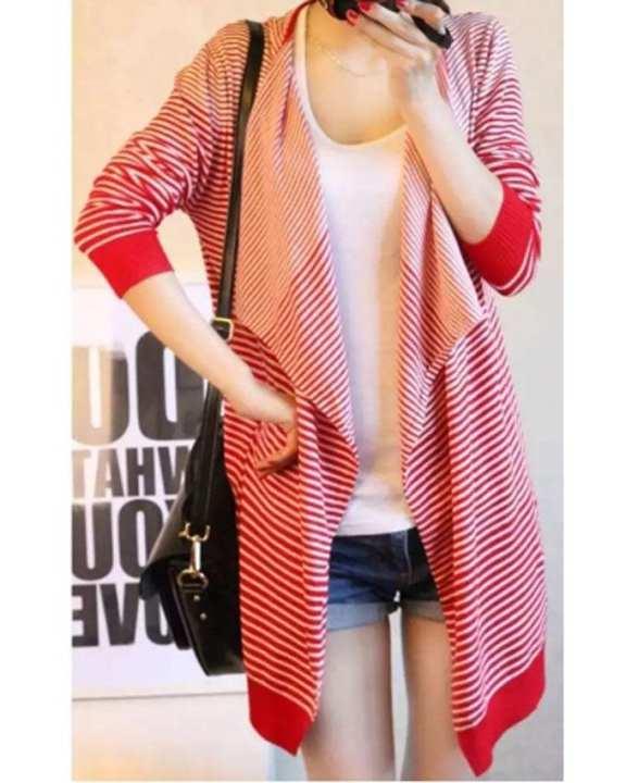 Cocotrend Women's Stripe Open Jacket - Red