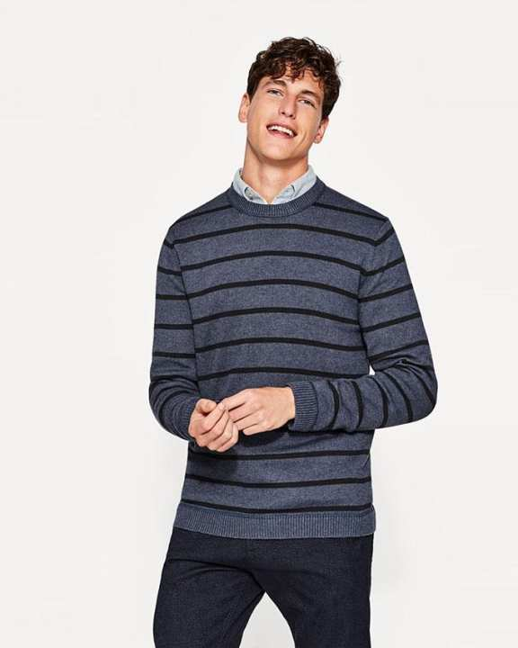 Esprit Striped knitted jumper in cotton - Anthracite