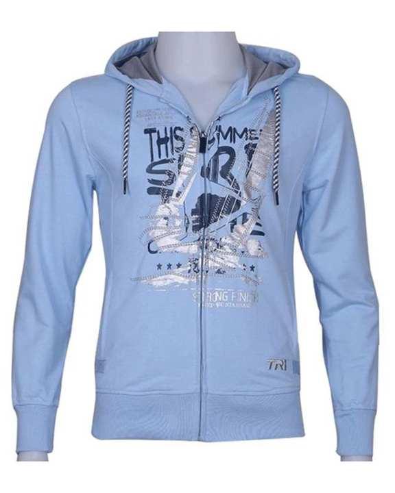 TRI Men's Long Sleeve Cotton Hoodie - Light Blue