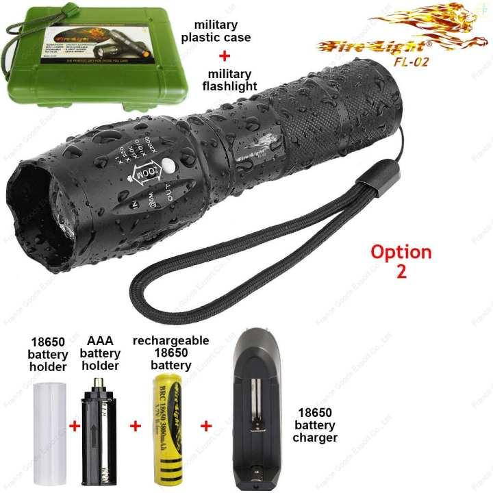 FireLight FL-02 O2, Tactical Advanced Professional Military Flashlight High lumens☼1260 lm,☼Lighting range 200m, genuine USA CREE XM-L2 LED, FRANCE brand.