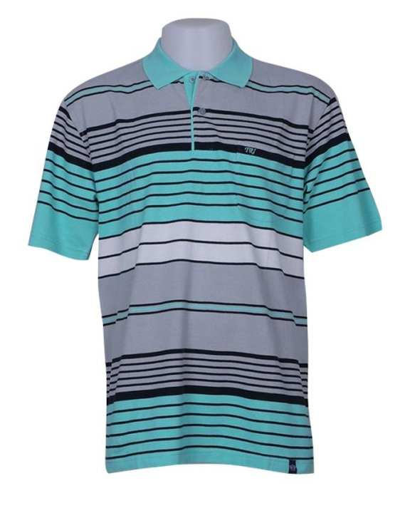 TRI Men's Short Sleeve Striped Polo Shirt - Turquoise/Grey