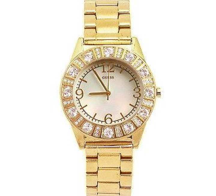 GUESS GOLD TONE STAINLESS STEEL BAND MOP DIAL+CRYSTAL WATCH