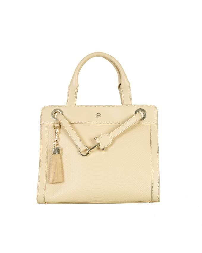 Aigner Women's Handbag with Shoulder Strap & Tassel - Almond Beige