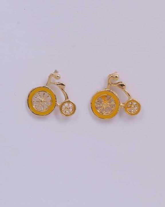 Bicycle Earrings - Yellow