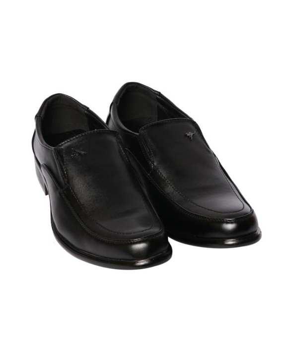 Kangaroo Men's Leather Formal Slip On Shoes - Black