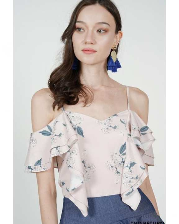 MDS Layered Frilly Top in Pink Floral