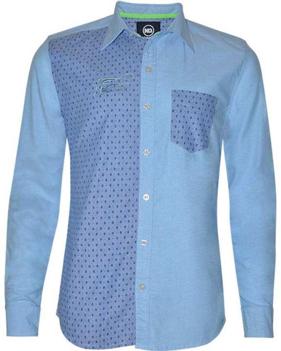 NOBODY Men Shirt-Long Sleeve-Blue