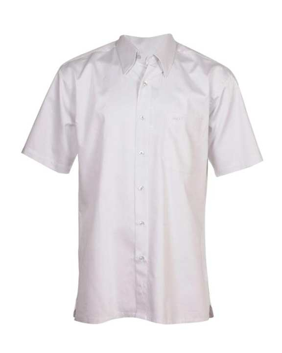 Crocodile Men's Short Sleeve Spread Collar Shirt with Front Pocket - White