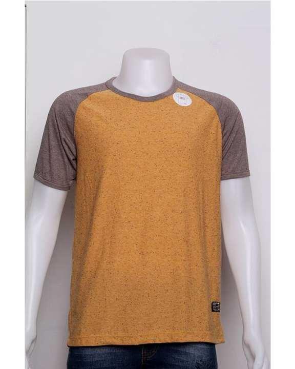 B.O.B 2 Colour and Spot Designed Short Sleeved T-shirt - Light Yellow + Brown
