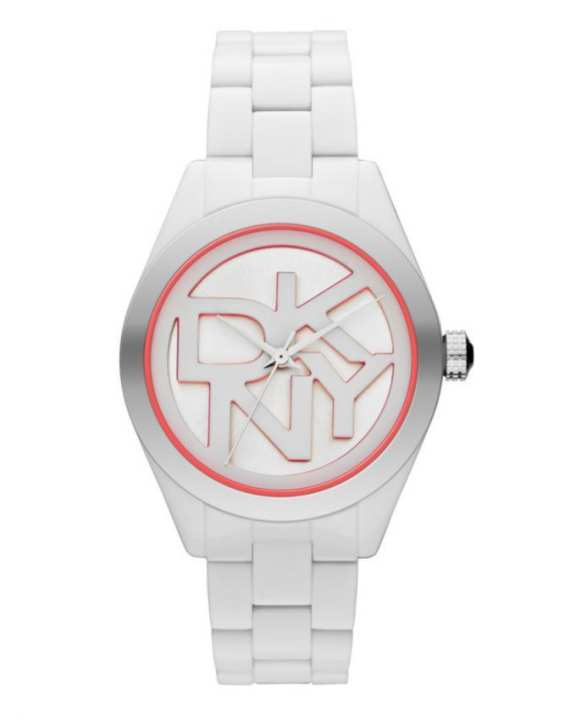 DKNY NY8753 Stainless Steel Watch with Plastic Bracelet – White and Coral