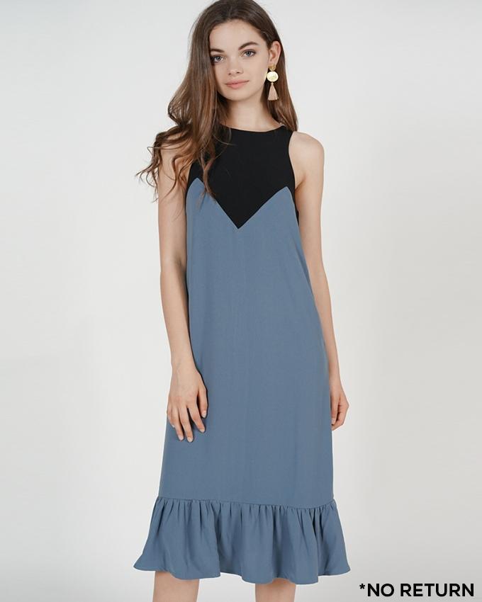 MDS Pleated-Hem Contrast Dress in Ash Blue