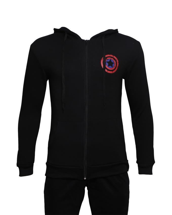 Infinity Unisex Captain Hoodie with America's Shield Designed Pocket - Black