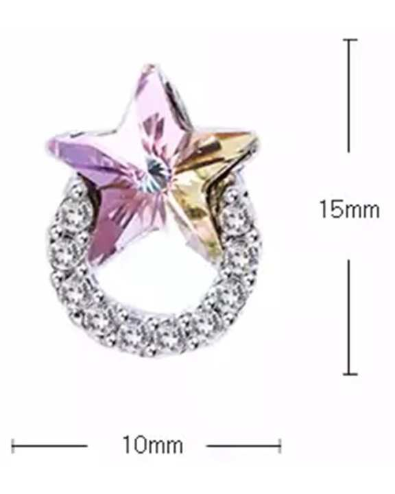Swarovski Star in hoop design stud earrings - Vitrail Light (001 VL)