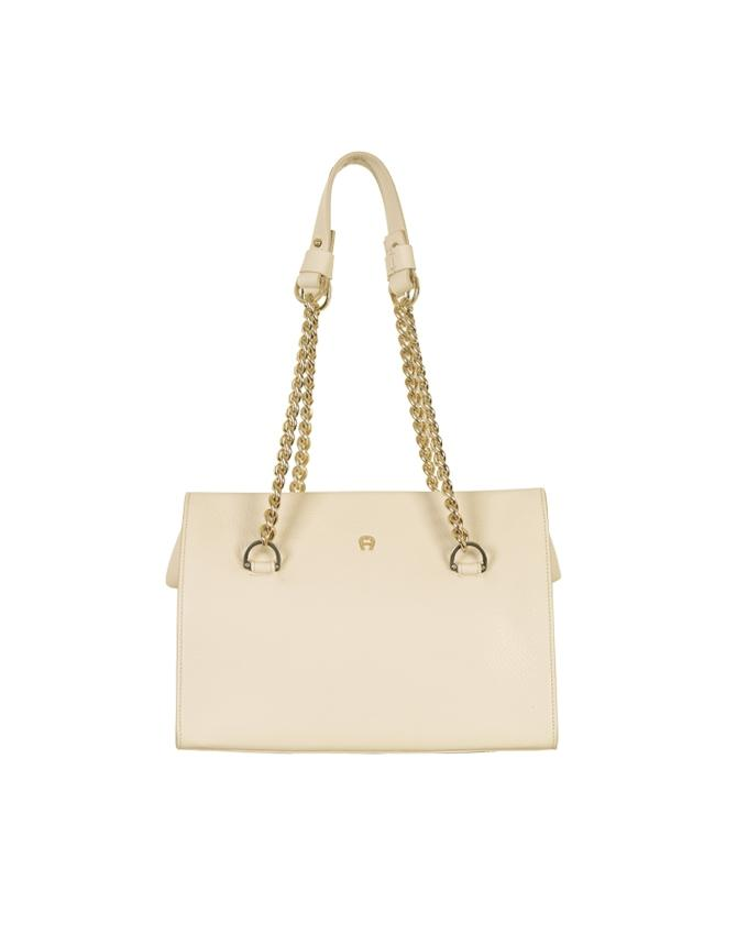 Aigner Women's Leather Handbag with Golden Strap - Almond