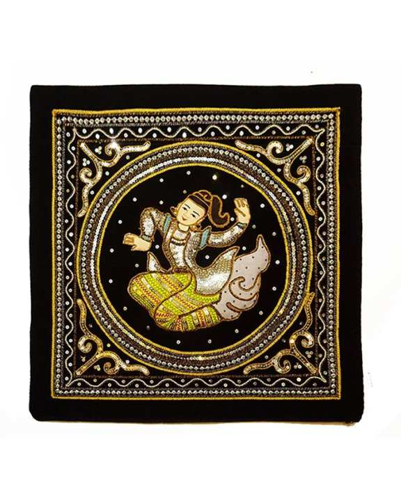 Three Seasons Myanmar Traditional Design Pillow Cover - Black