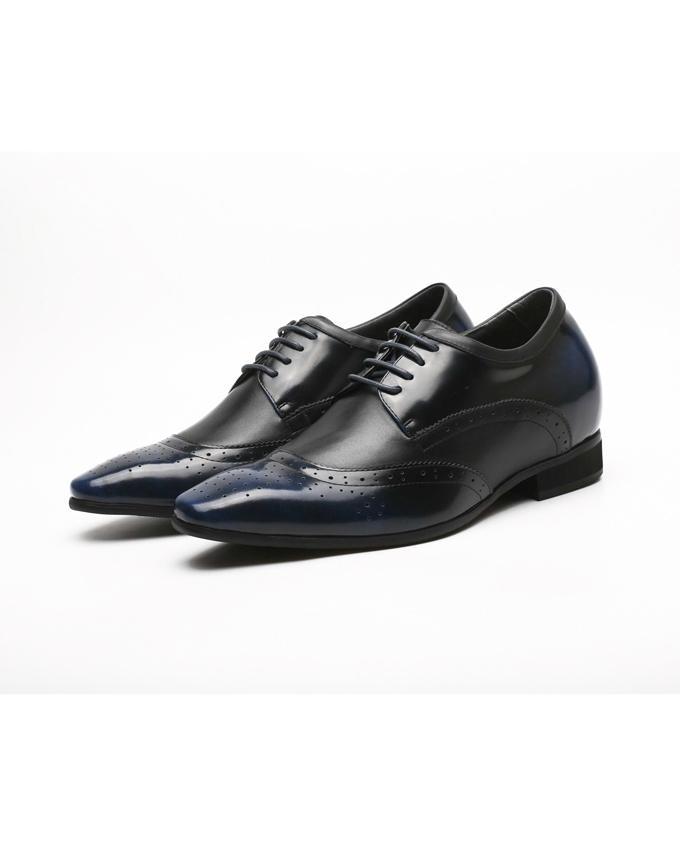 Mr.Confident  အီတလီ Leather အစစ္ Business Shoes - အျပာႏွင့္အနက္အေရာင္စပ္