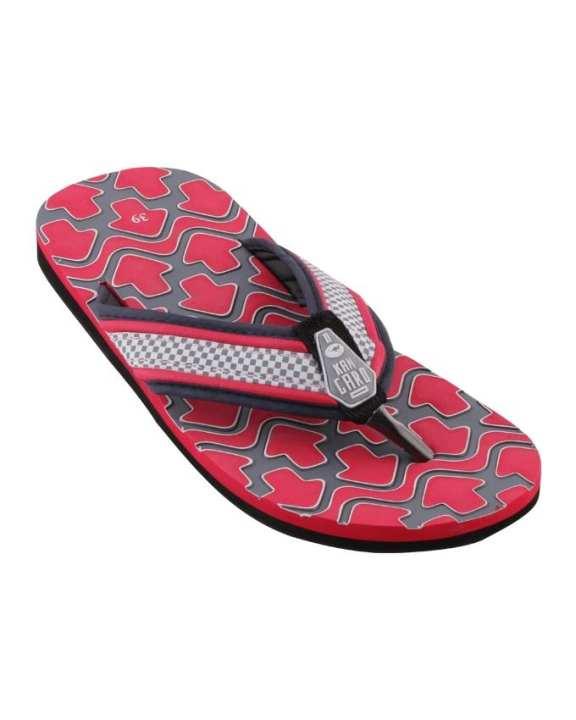 Kangaroo Men's Engraved Flip Flops - Red