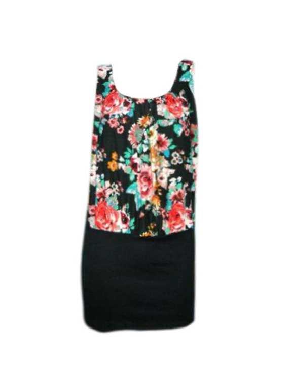 Angel Flowery Patterned sleeveless short dress - Black