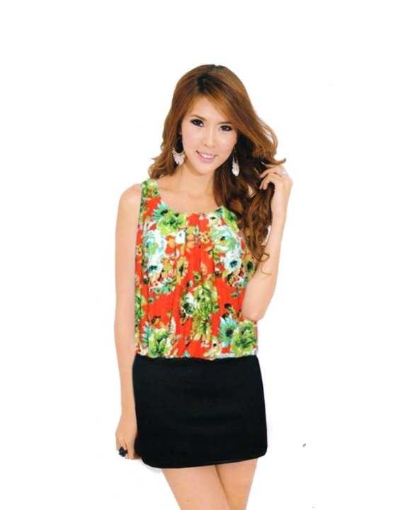 Angel Flowery Patterned sleeveless short dress - Orange