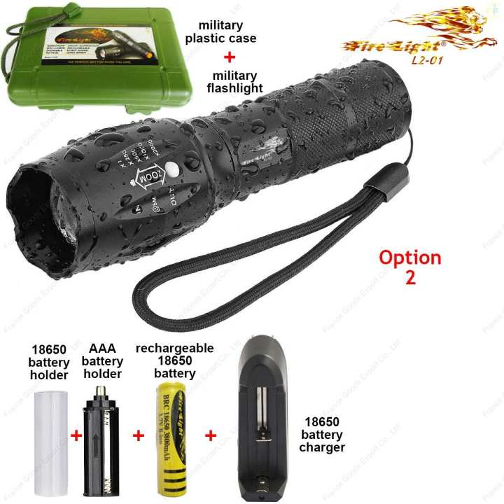 """L2-01 O2 Firelight"", Tactical Advanced Professional Military Flashlight High lumen☼1200 lm,☼Lighting range 180m, XM-L2 LED, FRANCE brand."
