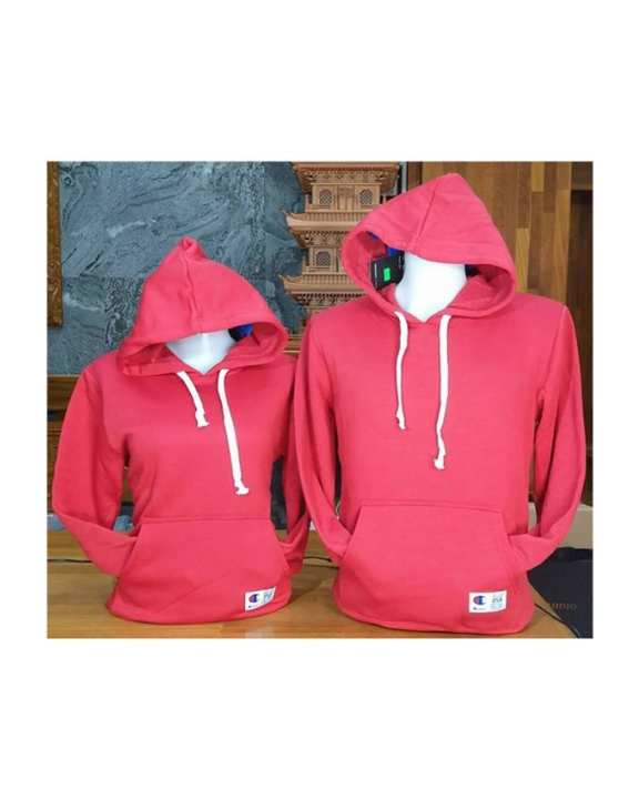 Plain Designed Couple Hoodie - Red