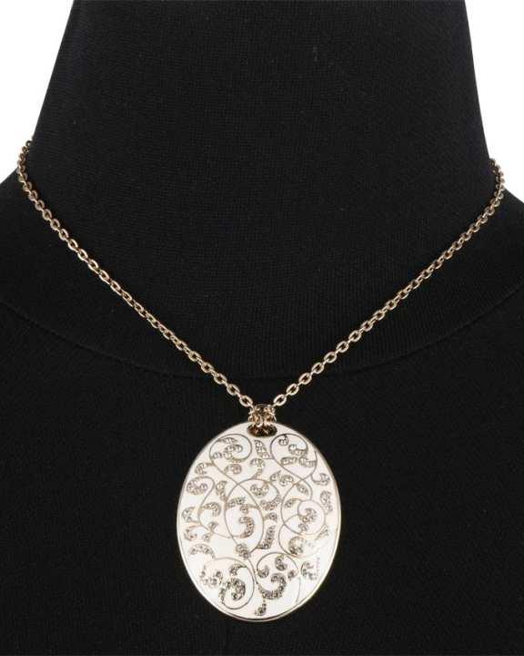 Paris Bijoux 18cm Antique Fleur Ivory Pendant Chain Necklace