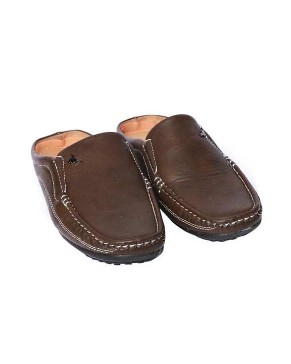 Kangaroo Men's Leather Formal Slip On Shoes - Brown