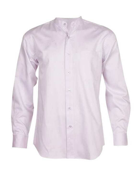 Crocodile Men's Long Sleeve Mandarin Collar Shirt - Light Violet