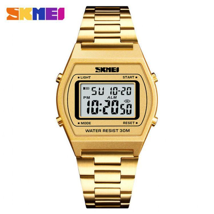 A&N SKMEI 1328 Womens Watches Business Square Stainless Steel Digital Sports Wristwatch Waterproof Relogio Masculino