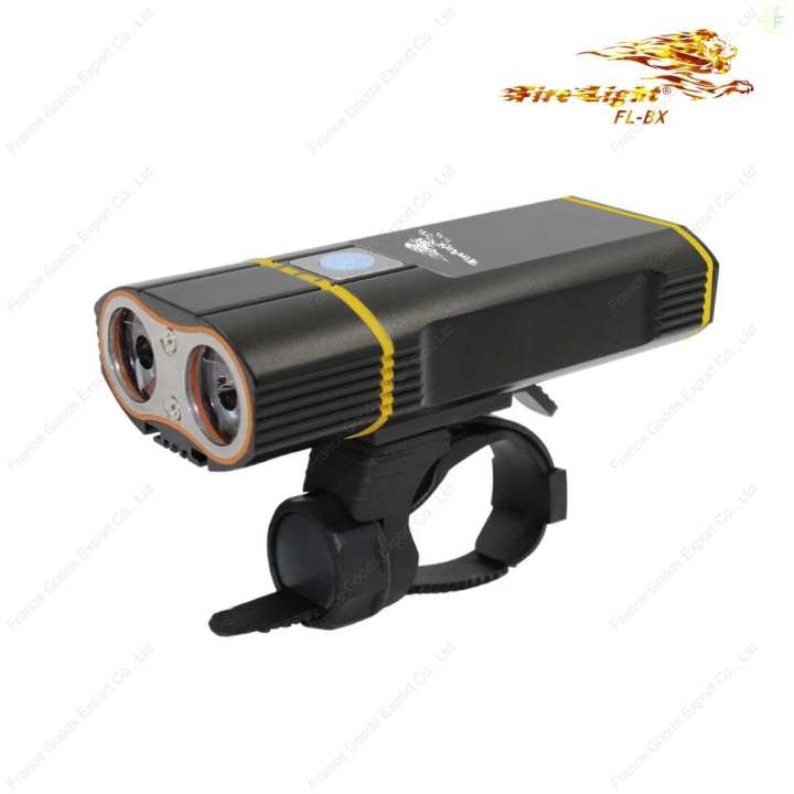 """FireLight FL-BX""  Bike Light / Hand Carry Light, Copy XM-L2 ✕ 2 LED, VERY HIGH Brightness ☼2400 Lumens, ☼lighting range 280 meters. France brand.(BATTERY*2 INCLUDED)"