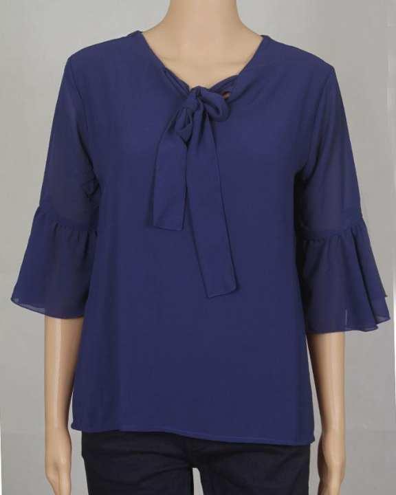 MIRA Women's Wear 3/4 Sleeve Blouse - Dark Blue
