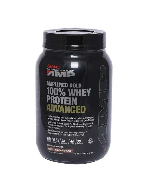 GNC Amplified Gold 100% Whey Protein Advanced 2.05 lbs - Double Rich Chocolate