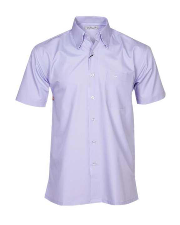 Crocodile Short Sleeve Plain Shirt - Light Purple