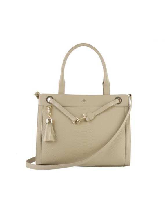 Aigner Women's Handbag with Shoulder Strap & Tassel - Taupe