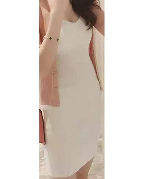 Cocotrend Women's 4 Strap Knit Sleeveless Bodycon Dress - White